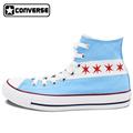 Original Converse All Star Canvas Shoes USA Chicago Flag Skyline Design Custom Hand Painted Sneakers Men