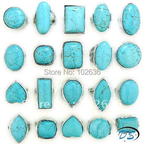 Free shipping! wholesale lots fashion alloy rings turquoise gemstone rings fashion jewelry rings