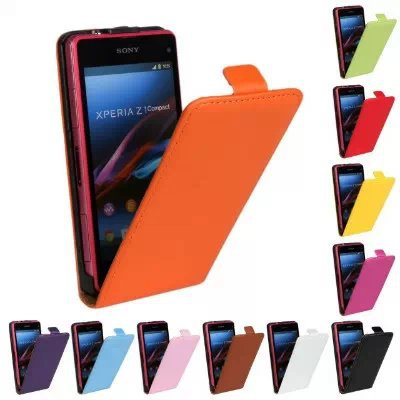 Genuine Leather Magnetic Vertical Flip Case For Sony Xperia Z1 mini leather case Compact M51w Up
