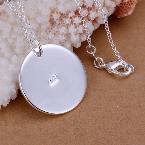 5silver plated pendant necklace WITHOUT CHAIN 925 stamped Circle P137-2 - Tracy Jewelry store