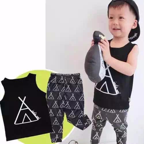 Babybabies Children Clothing Summer Style Unisex Boys&Girls Triangel 2pcs Black Sets Toddlers' Tank Tops &Pants(China (Mainland))