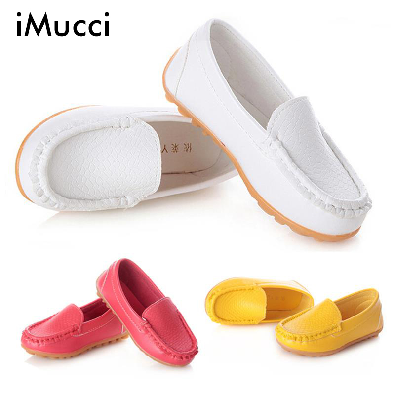 iMucci PU Leather Baby Girl Shoes White Red Yellow Soft Sole Sneakers Girls First Walkers Flats Boat Slip Child Loafer Shoes(China (Mainland))