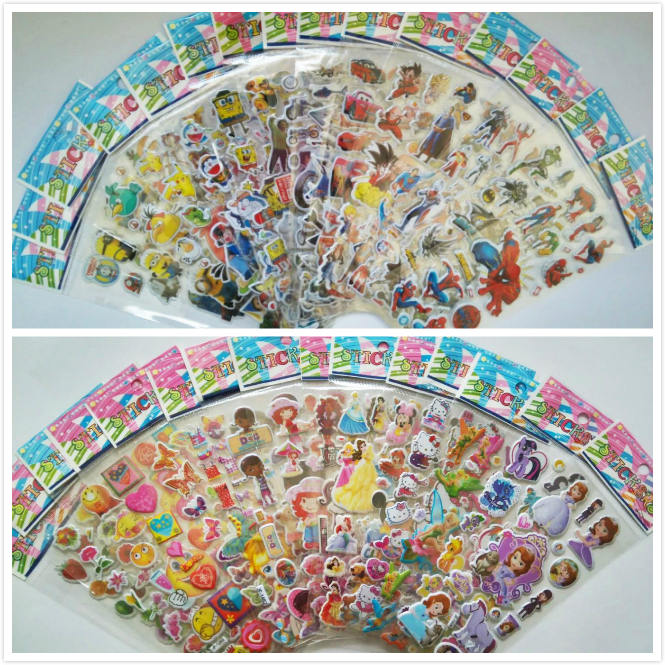 10 Sheets/Set Mixed 3D Foam Cartoon Kids Cute Puffy Stickers Children Crafts and Scrapbooking Stickers DIY Toys for Girls/Boys(China (Mainland))