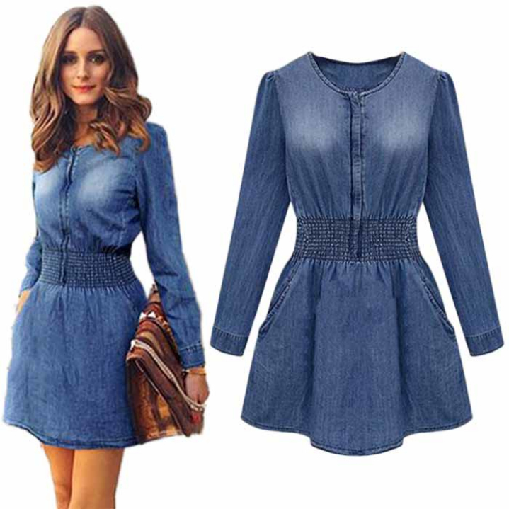 Wonderful Mossimo Women39s Long Sleeve Denim Shirt Dress  Classic Denim 25