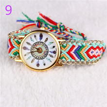 Famouus Brand Handmade Braided TWELVE FEATHER FRIENDSHIP WATCH Rope Watch Women Quarzt Watches relogio feminino
