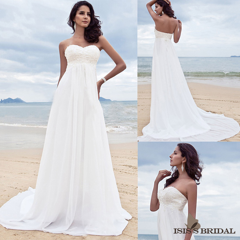 Affordable a line sweetheart empire hi low beach white for White high low wedding dress