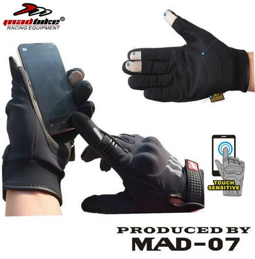 (1pair)100% Original Madbike Brand Motorcycle Gloves Warm Touch Screen Phone Reflective Armor Guantes CG-M07(M/L/XL)(China (Mainland))