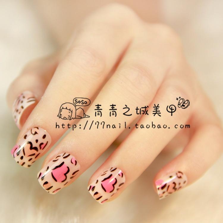 High quality! Pink false nails leopard,short fake nails,false nails adhesive 24pcs(China (Mainland))