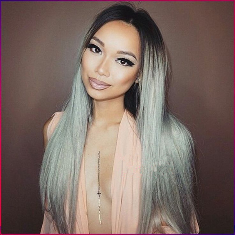 Fashion Grey Ombre Wig Long Straight Synthetic Lace Front Wig Top Quality Two Tone Anime Cosplay Wig For Black Women<br><br>Aliexpress