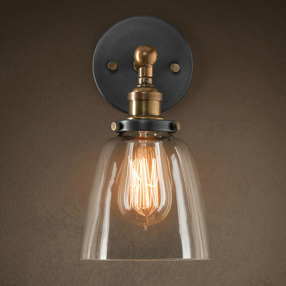 Vintage e27 glass wall sconces lamps retro wall mounted for Wall light fixtures bedroom
