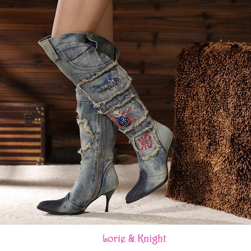 Фотография Ladies Blue Denim Stiletto High Heel Rhinestone Boots Over the Knee Fashion Pointed Toe Zipper Boots