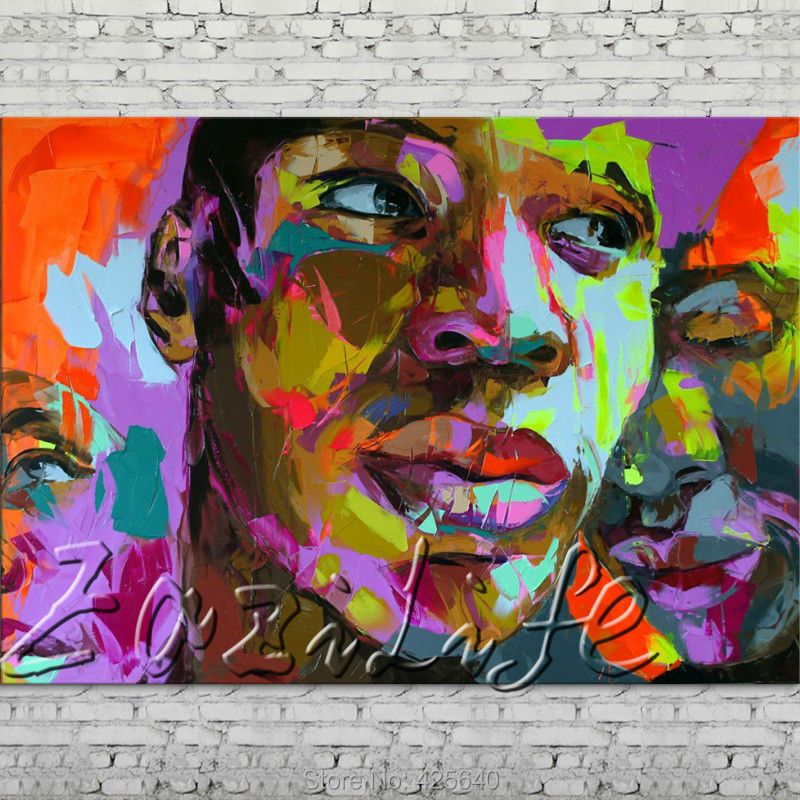 Buy Palette knife portrait Face Oil painting Character figure canva Hand painted Francoise Nielly wall Art picture for living room44 cheap