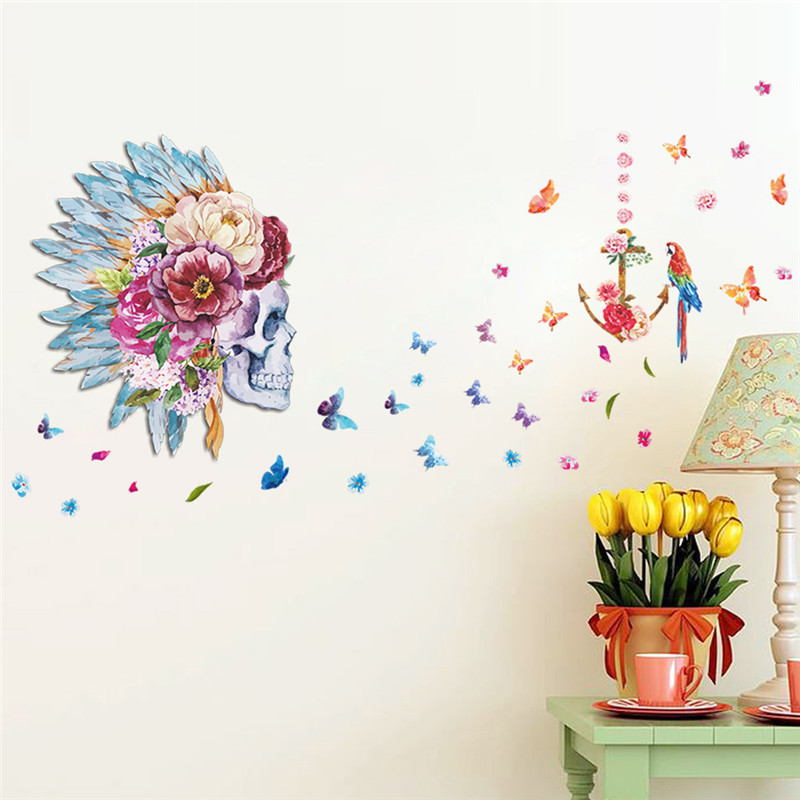 Skull flower head feather Butterfly Parrot Birds 3d wall stickers for bedroom living room vinyl pvc wall decal home decor &(China (Mainland))