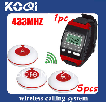 DHL freeshipping 433.92mhz Nursing call systems of  1pc watch pager for unrse and 5pcs Call button installed in the hospital bed