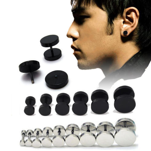 1Pair Man Barbell Punk Gothic Stainless Steel Ear Studs Earrings Black Siver(China (Mainland))