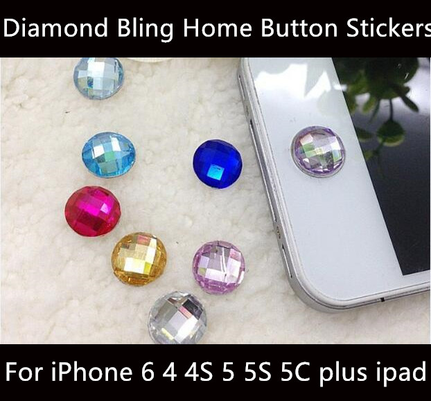 Brand new Diamond Bling Home Button Stickers for Apple iPod iPhone 64 4S 5 5S 5C plus ipad(China (Mainland))