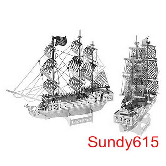 Free Shipping 3D Metal Nano Puzzle Model Building Kits Toy - DIY Black Pearl Pirate Ship Model(China (Mainland))