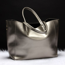 Fashion Women Genuine Leather Shoulder Bags Ladies Shark Solid Cowhide All match Brief Shark Handbag Female Soft Shopping Bolsas