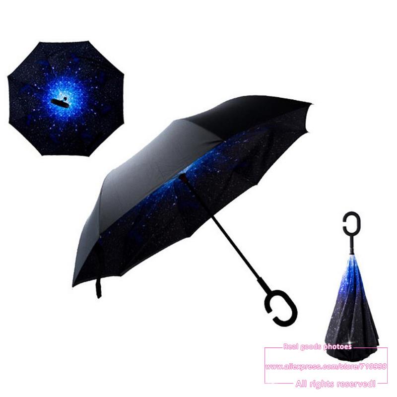 Drop Shipping 2016 Creative High Quality Fashion C Handle Cell Phone sky reverse kazbrella handfree sun umbrella rain women(China (Mainland))