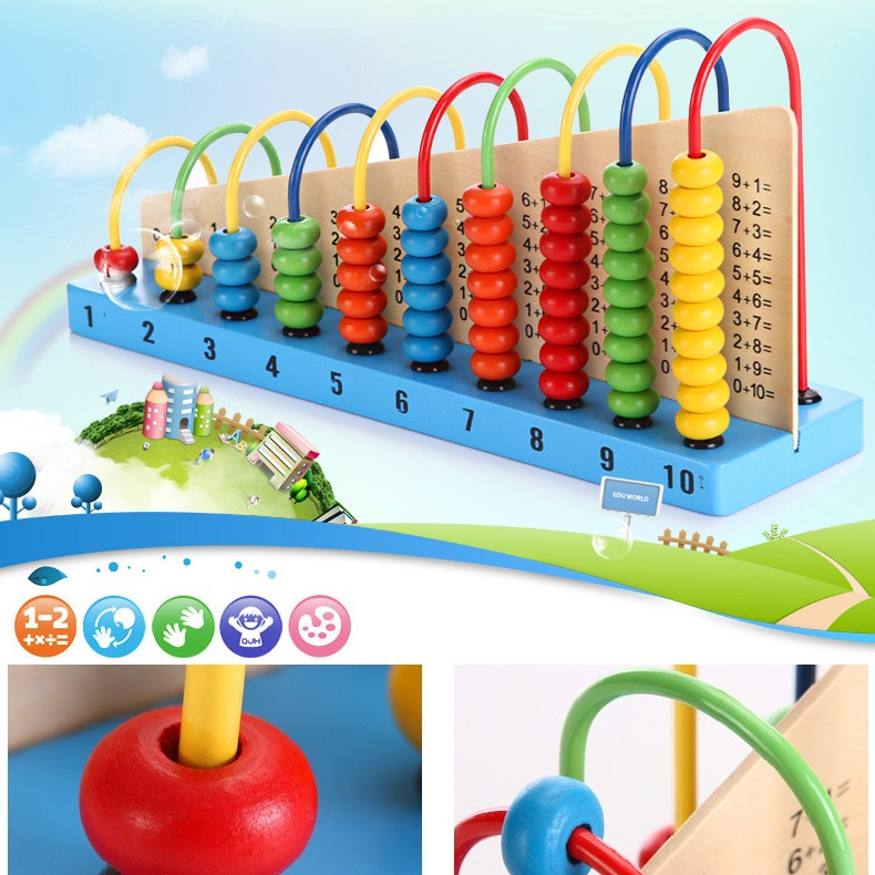 baby educational toy wooden abacus counting frame for kids early learning maths school calculate learning aids tools top quality(China (Mainland))