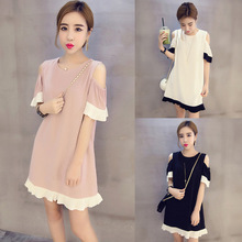 Plus Size Real 2016 Summer New Korean Version Was Thin Round Neck Short Sleeve Spell Color Dress Sexy Fashion Pregnant Pretty(China (Mainland))