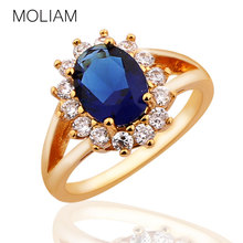 MOLIAM New Fashion Rings for Women 24K Gold Plating Finger Rings Sapphire AAA Cubic Zircon Band Anniversary Rings Hot Sale R028(China (Mainland))