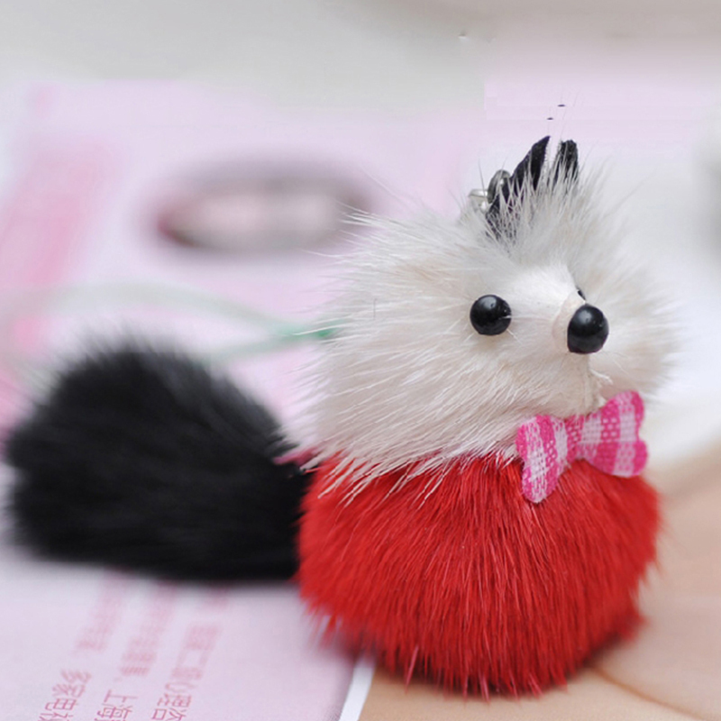 2016 Cute Little Mink Gifts Fur Strap Bag Strap Key Chains Phone Pendant Keychain Cute Mouse Plush Fur Pendant for Handbag QS-62(China (Mainland))