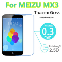 0.3mm 9H 2.5D Explosion-Proof Anti Shatter Toughened Tempered Glass screen For Meizu MX3 LCD Film HD Arc Screen Protector Cover