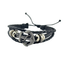 2016 Hot Multilayer Leather Fashion Male Vintage Accessories Anchor Bracelet Men Jewelry Free Shipping()