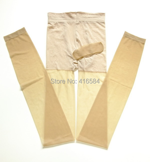 High Elastic Mens Pantyhose Underwear with Cock Tube Open Crotch Legging(China (Mainland))