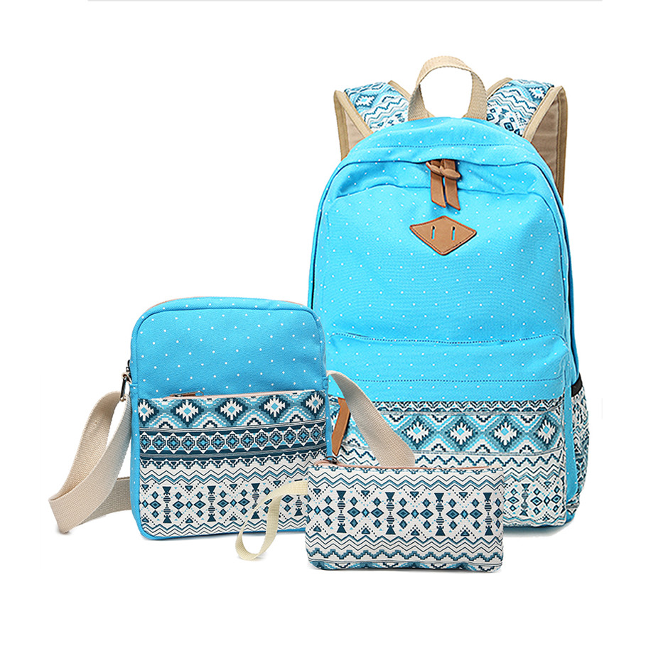 3pcs polka dot girls school backpack crossbody bags for women travel bags bookbag back pack blue ethnic bag kids pen pencil case(China (Mainland))