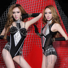 2015 black armor Fashion sexy ds costume female dj performance wear costumes singer stage dancer nightclub show - company store