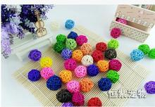 High grade mini pure natural cane makes up dazzle colour parrot chew toy ball pet bird toys 10pcs/lot free shipping
