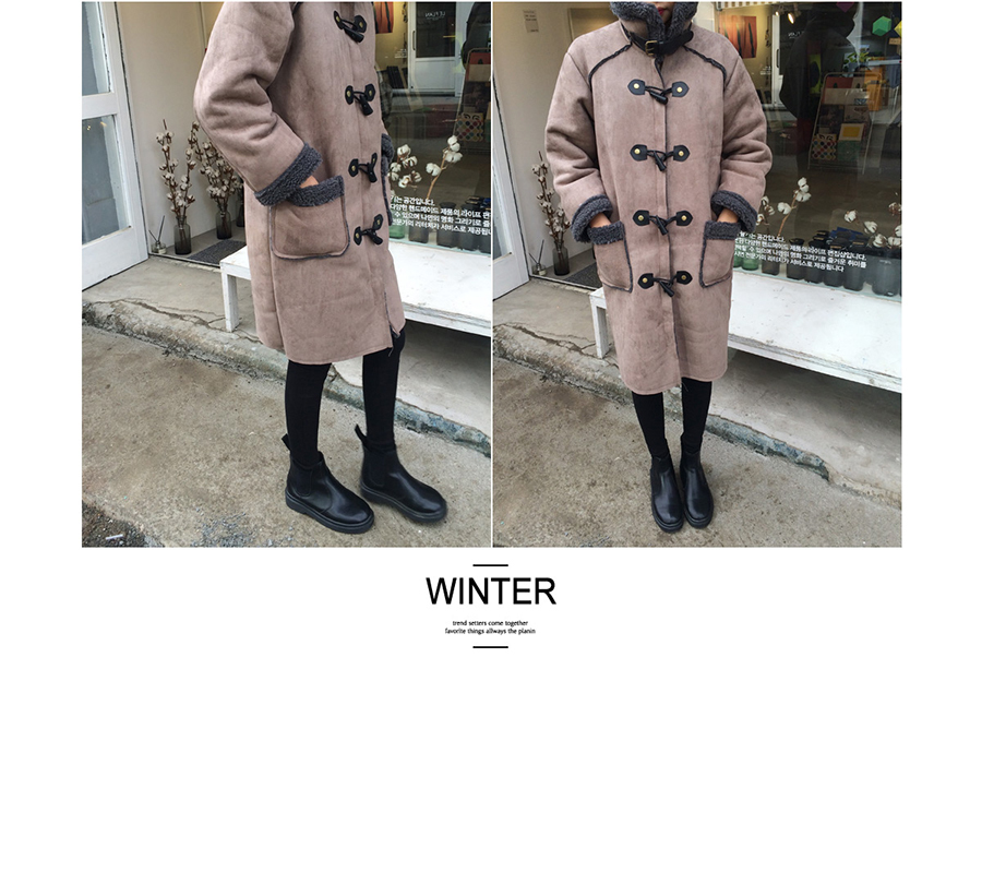 Скидки на [Soonyour] 2016 Зимняя Мода Новый Овечьей Шерсти сплит совместное С Длинным Рукавом Ткань Замши Рог Пряжки Свободные Пальто Женщина YD11101S
