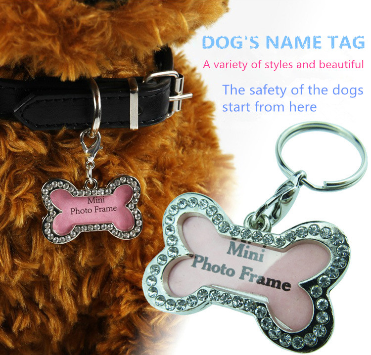 New Pet Name Tag Pet Products Bones Shape Name Card Pet Dog Cat Pendant Accessories Prevent Lost Phone Number ID Card(China (Mainland))