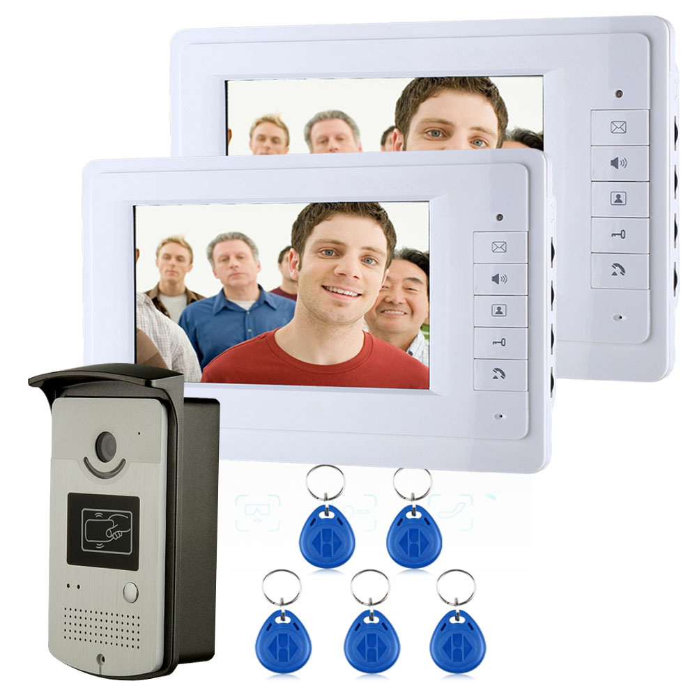 "Free Shipping 7"" Color Video Intercom Door Phone System With 2 White Monitor 1 RFID Card Reader HD Doorbell 1000TVL Camera(China (Mainland))"