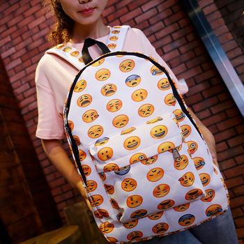 New 2016 Emoji Face Printing School Bag Smiley Backpack Smiling Book for teenagers girls High quality Shoulder Mochila Feminina