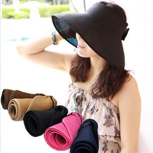 2015 summer hats for women straw hat female Fashion Women Wide Large Brim Floppy Fold Summer Beach Sun Hat Cap sombrero