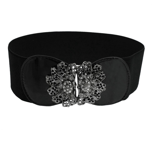 5 pcs Xmas Black Girls Elastic Band Rhinestone Metal Flower Cinch Waist Belt Spring Fashion(China (Mainland))