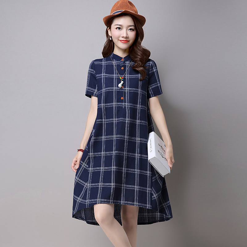 Shot Loose Lattice Version Thin Cotton Dresses Plus Size Plaid A-line Casual Mandarin Collar Button Vintage Dress 2016(China (Mainland))