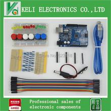 Free Shipping 1set new Starter Kit UNO R3 mini Breadboard LED jumper wire button for Arduino compatile