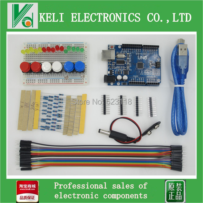 Free Shipping 1set new Starter Kit UNO R3 mini Breadboard LED jumper wire button for Arduino compatile(China (Mainland))