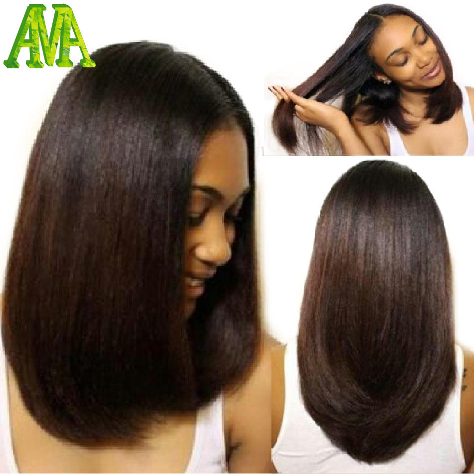 Best Light Yaki Straight Full Lace Wigs Human Hair Bob Wigs Glueless Virgin Brazilian Light Yaki Lace Front Wig with Baby Hair(China (Mainland))