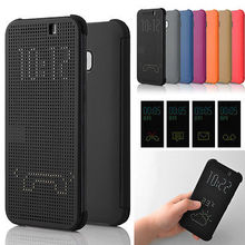 Flip Case Shockproof Auto Sleep Wake Silicone TPU Ultra Slim Dot View Smart Phone Cover Case For HTC One M9(China (Mainland))
