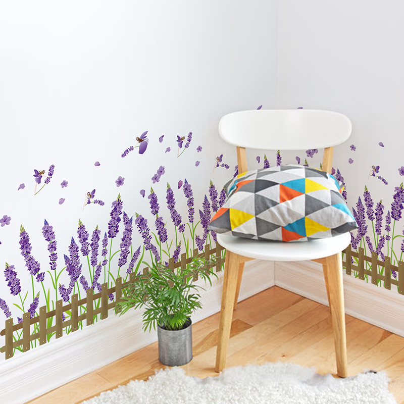 Lavender Wall sticker Garden Purple Plant Fence PVC 91W*46H For Home Decor living Room Provence Wall Sticker Mural Decal(China (Mainland))