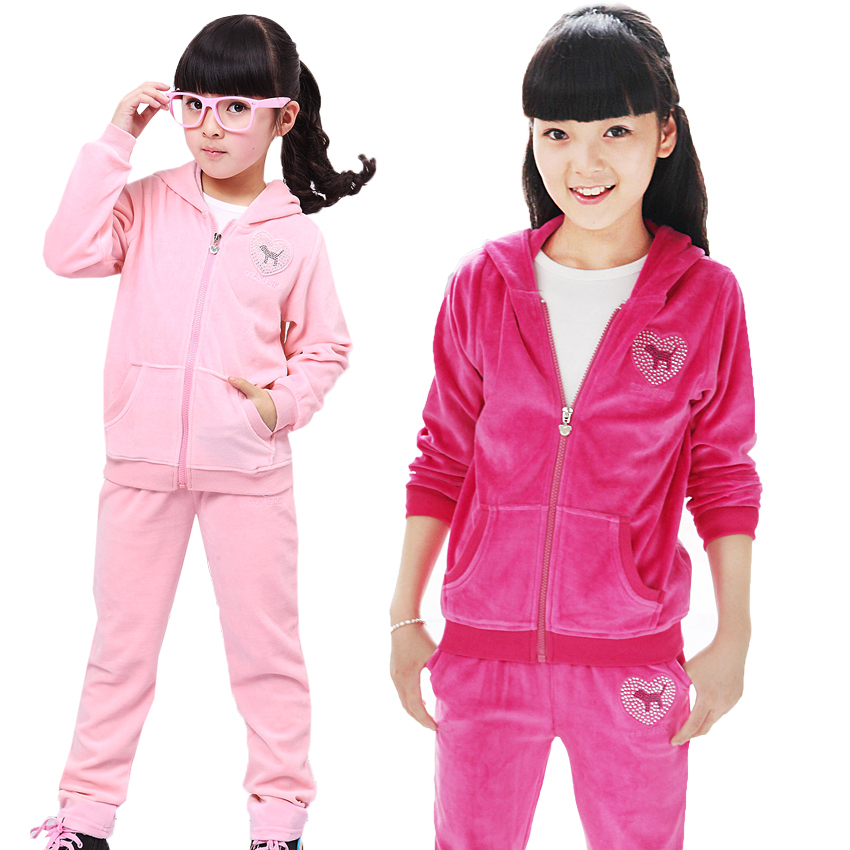 2015 new autumn summer children clothing sets baby girl velet sports suit kids twinset sportswear hoodies