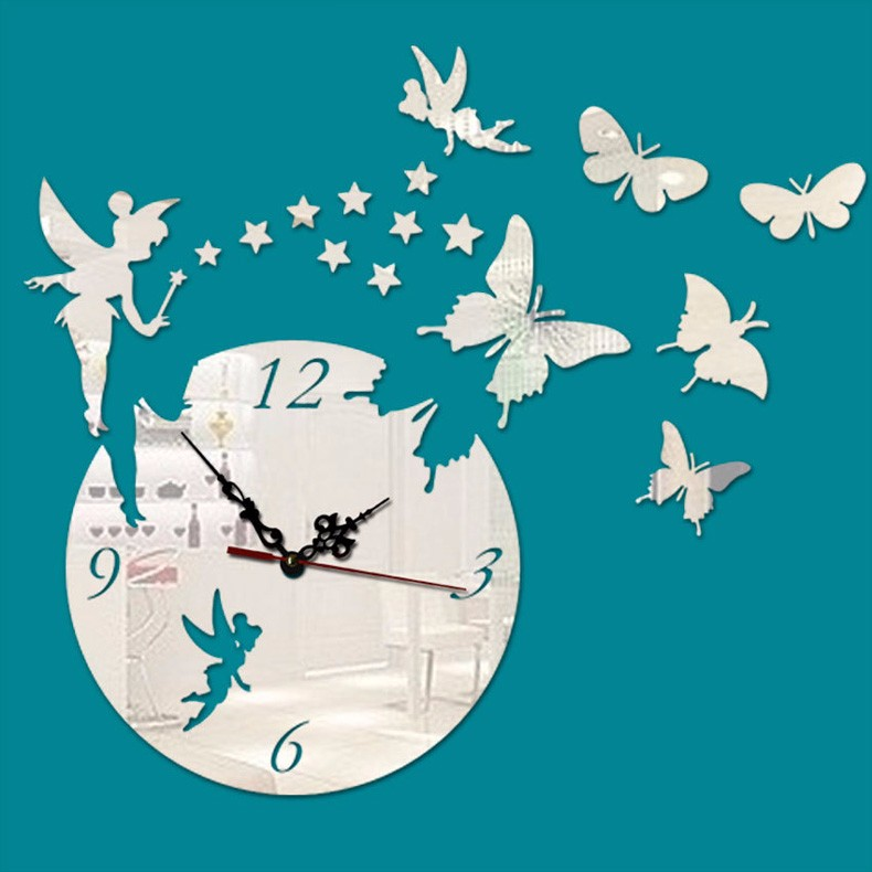 New Creative Art Fashion Acrylic Large 3D Butterfly Wall Clock Modern Design Home Decorative Diy Clock Hall Office Bedroom reloj