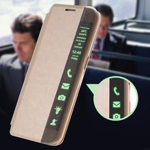 Чехол кожаный, для Galaxy S6 edge Smart чехол сна проснулся окно вида для S6 edge перевёрнутый мешок мягкий тпу резина гель вмонтированная капа