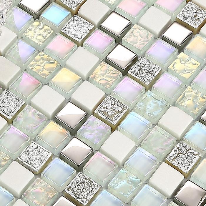 mini square shining clear stain glass mixed white stone for kitchen backsplash tile bathroom shower mosaic tiles hallway border<br><br>Aliexpress