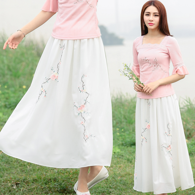 Traditional Chinese clothing 2017 women spring autumn ethnic bohemian design long white embroidery a-line skirt longuette